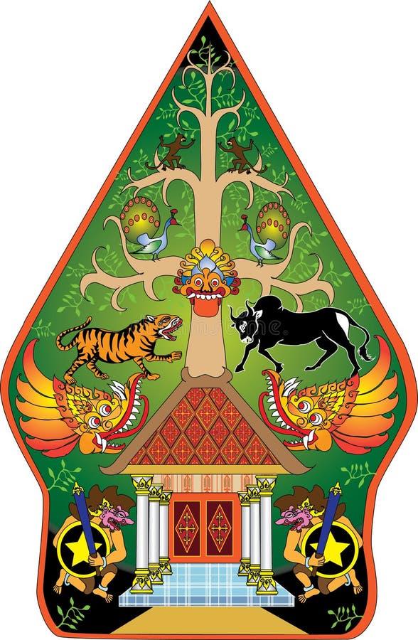 Marioneta tradicional indonesia de la sombra del color verde de Wayang Gunungan - ejemplo del vector ilustración del vector