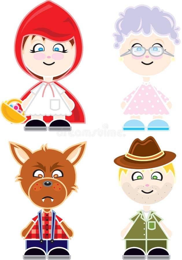 Marionetas de Chapeuzinho stock de ilustración