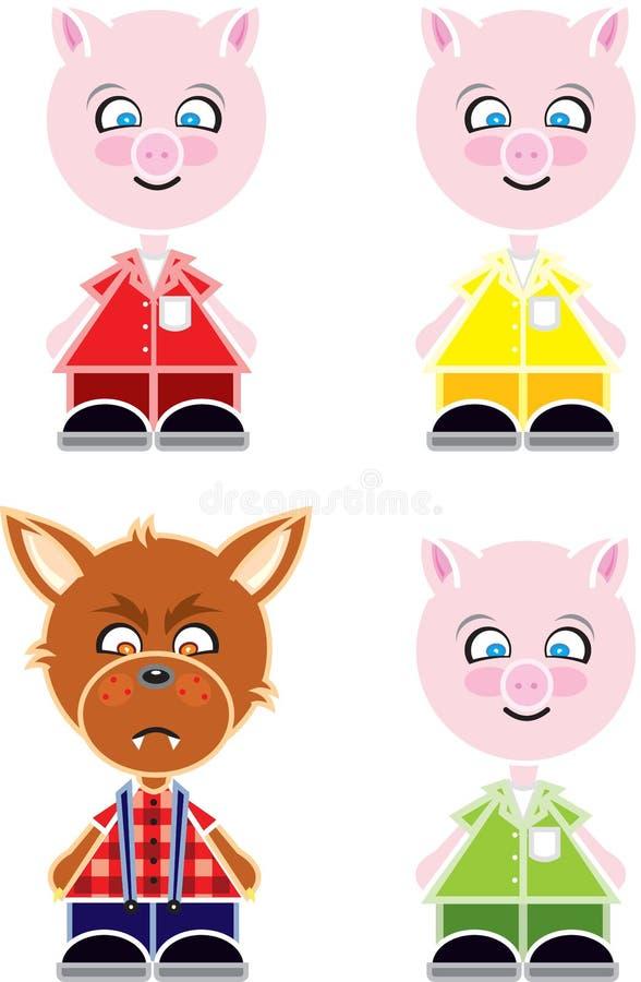 Marionetas de los cerdos ilustración del vector