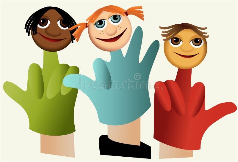 Marionetas de mano con los niños ilustración del vector