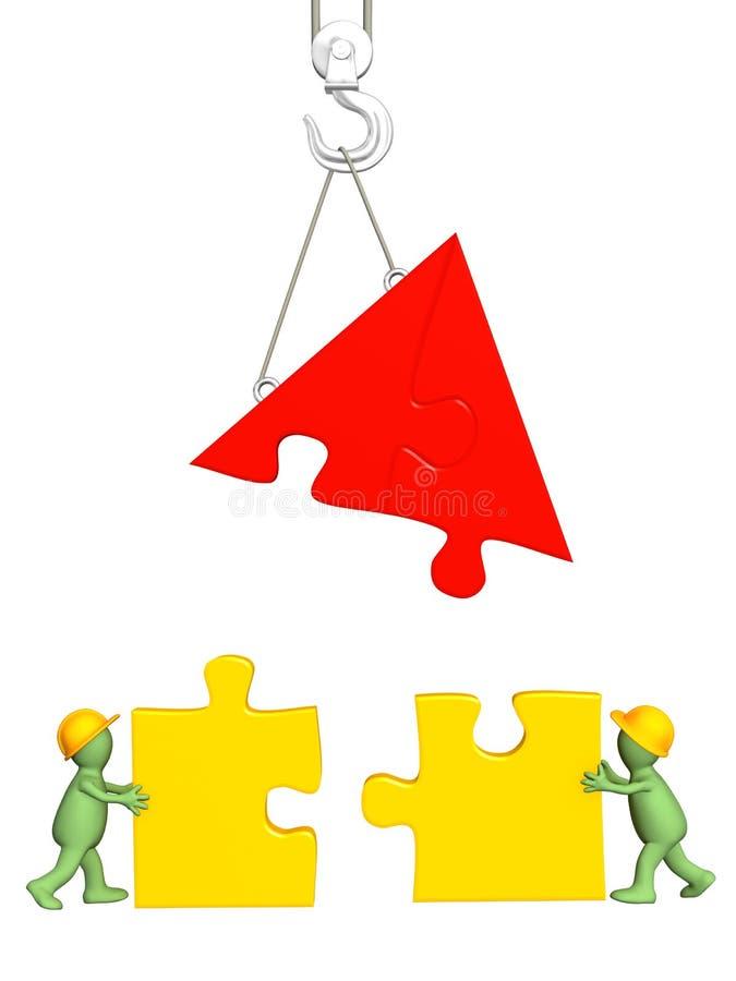 marionetas de trabajo 3d que construyen la casa ilustración del vector