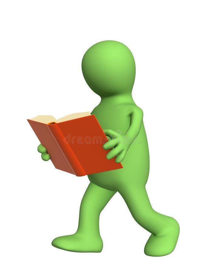 Marionette 3d, das Buch lesend in Bewegung lizenzfreie abbildung