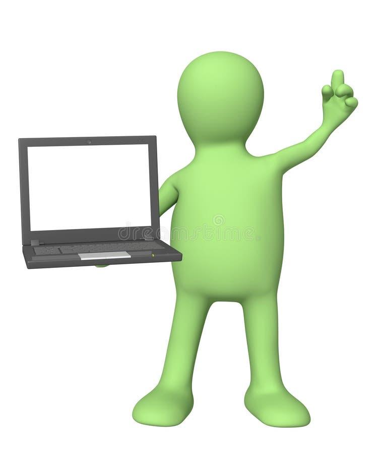 Marionette 3d mit Laptop in der Hand