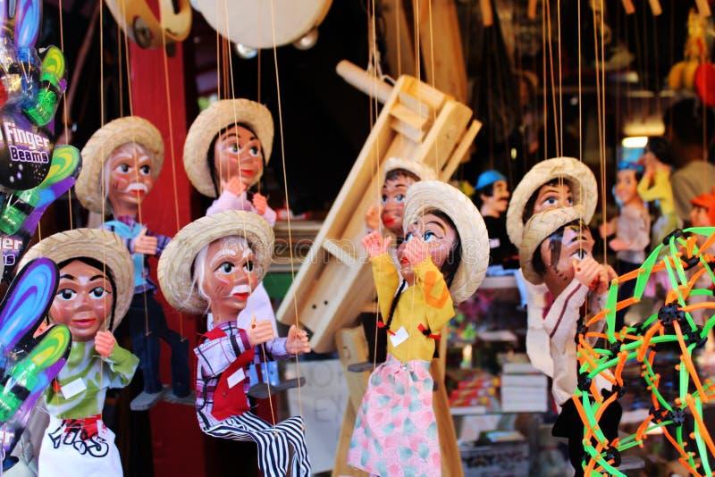 Marionette della via di Olvera, burattini messicani Los Angeles immagini stock libere da diritti