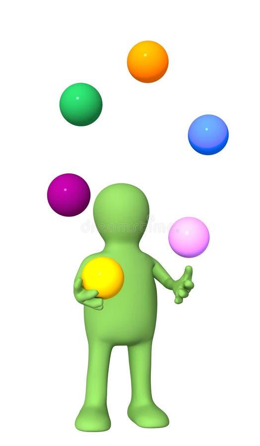 Marionette, jonglierend mit Kugeln lizenzfreie abbildung