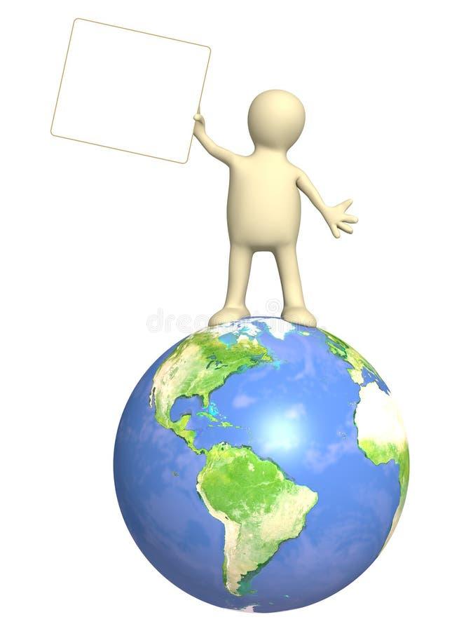 Marionette mit Informationsvorstand stock abbildung