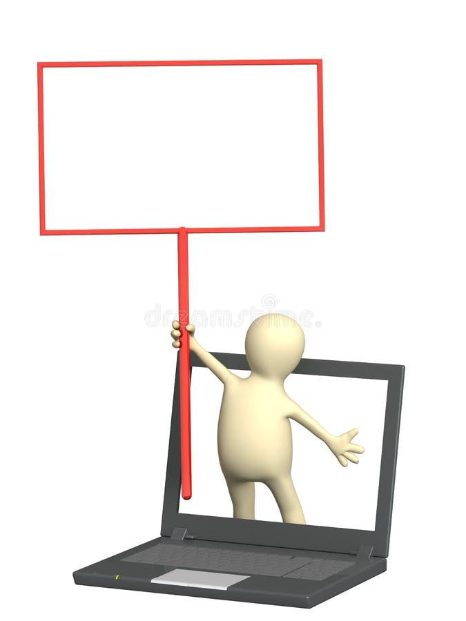 Marionette mit Informationsvorstand lizenzfreie abbildung