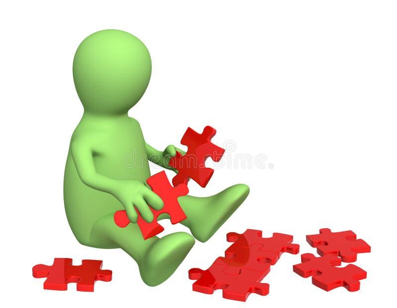 Marionette mit Teilen eines Puzzlespiels stock abbildung
