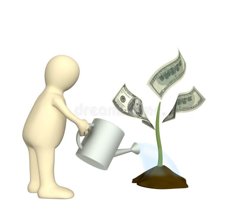 Marionette, wässernde Währungsanlage vektor abbildung