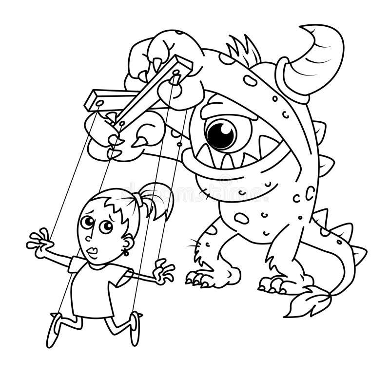 Marionette wird vom Monster gesteuert - Furcht erteilt Auftrag lizenzfreie stockfotos