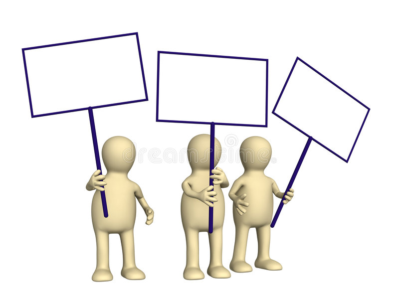 Marionetten 3d, die mit Plakaten protestieren vektor abbildung