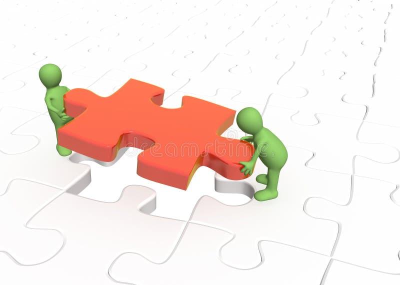 Marionetten 3d, die rotes Teilpuzzlespiel installieren lizenzfreie abbildung
