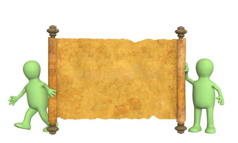 Marionetten 3d mit dem alten Manuskript stock abbildung