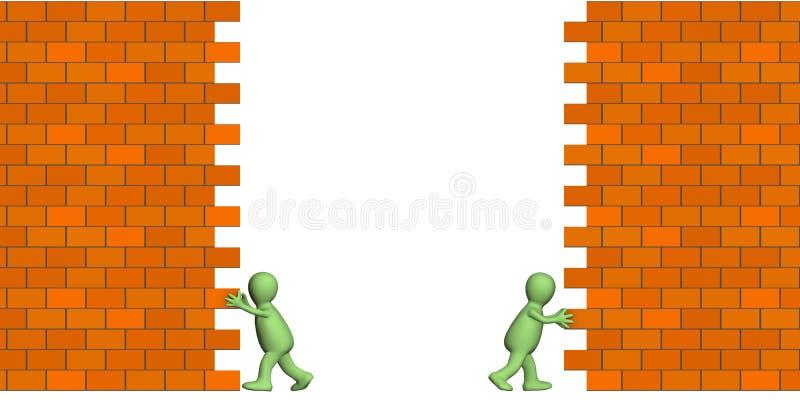 Marionetten, die Durchlauf in einer Backsteinmauer erstellen lizenzfreie abbildung