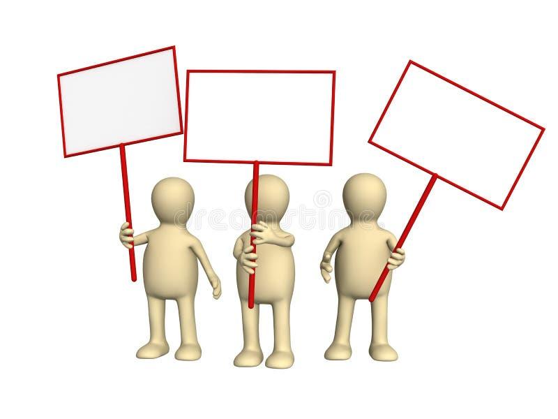 Marionetten die met affiches op demonstratie protesteren stock illustratie