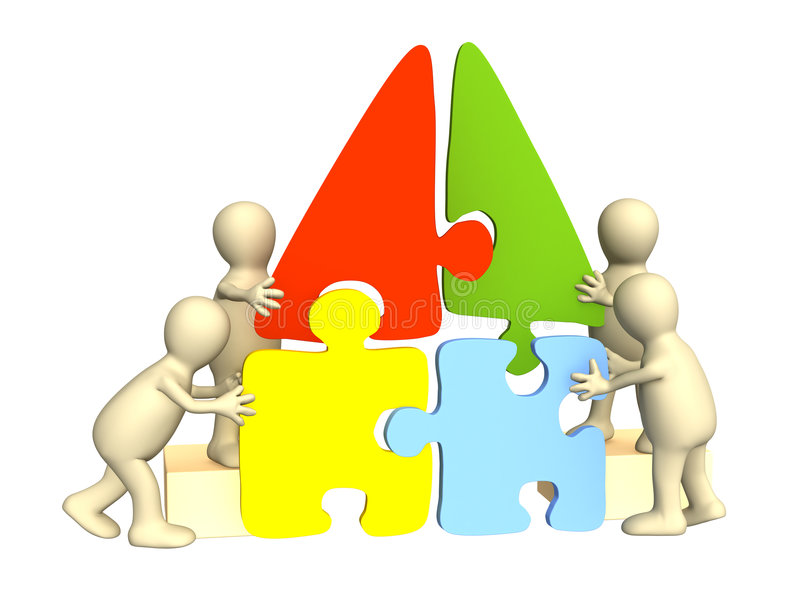 Marionetten, Haus von einem Puzzlespiel montierend stock abbildung