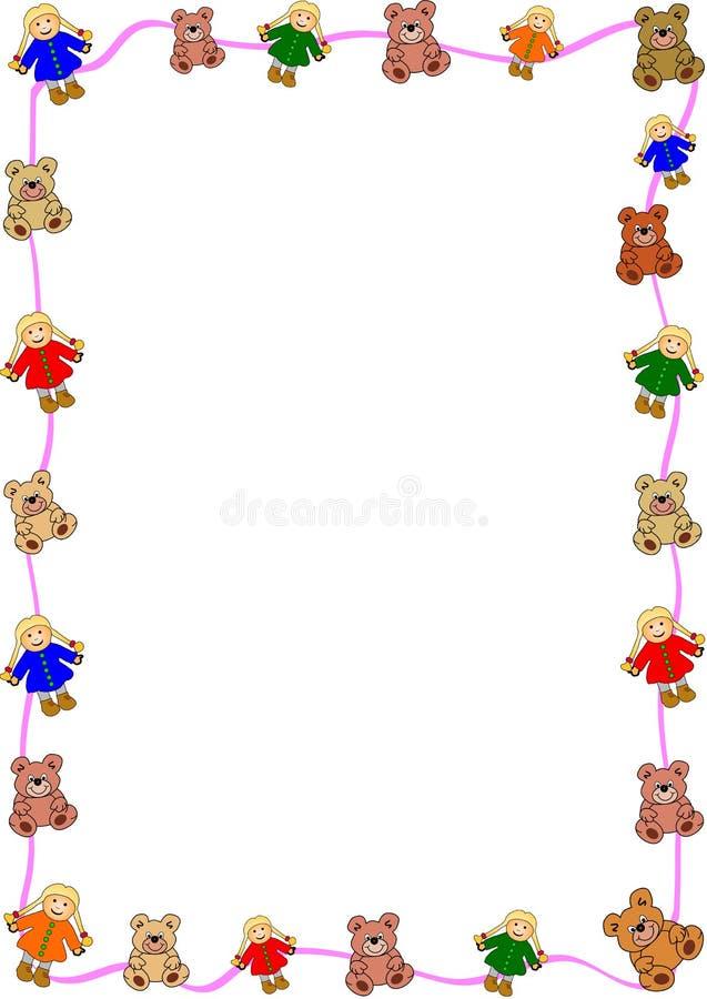 Marionetten und Bären herum lizenzfreie abbildung