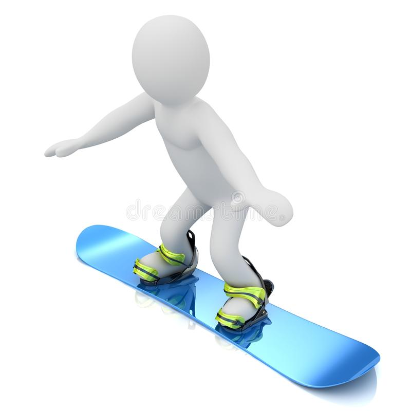 Marionettenpersoon die op een snowboard vliegen. stock illustratie