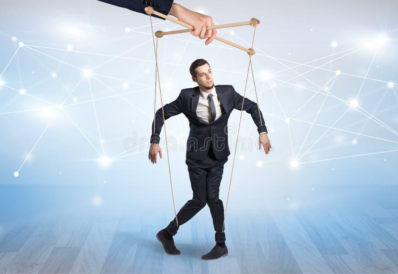 Marionettenzakenman met financieel concept royalty-vrije stock foto