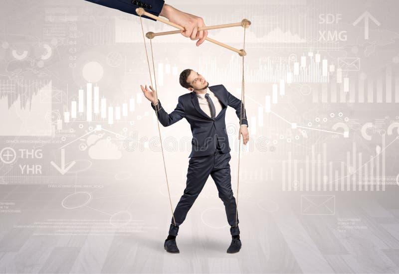Marionettenzakenman met financieel concept stock afbeelding