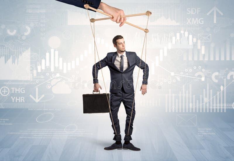 Marionettenzakenman met financieel concept royalty-vrije stock afbeeldingen