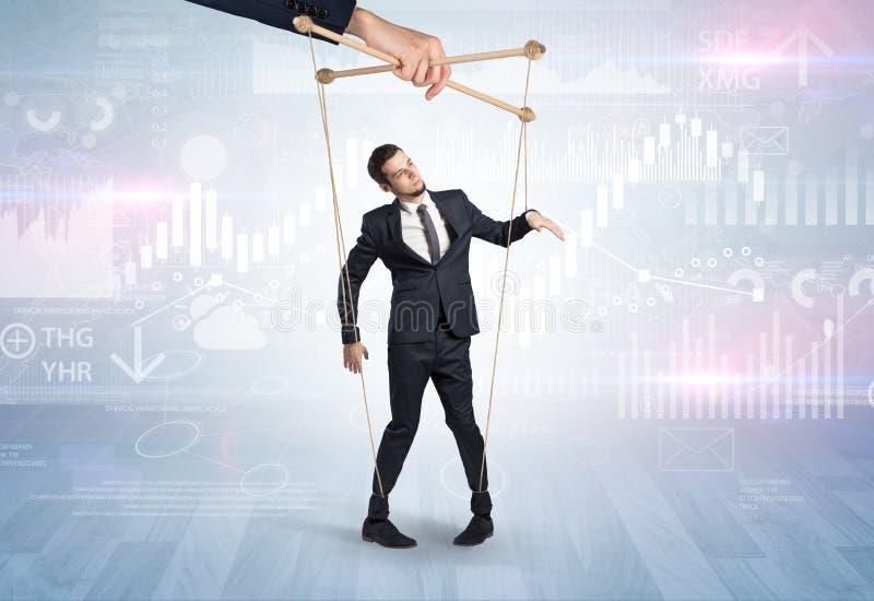 Marionettenzakenman met financieel concept royalty-vrije stock afbeelding