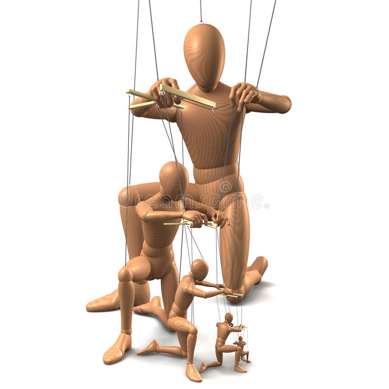 Marionettes. Group of marionettes on strings on white royalty free illustration