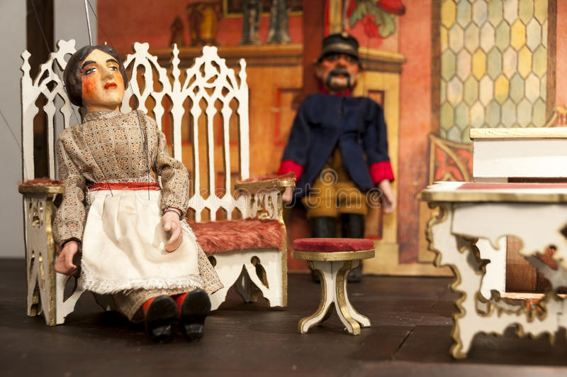 Marionettheater voor kinderen stock foto's