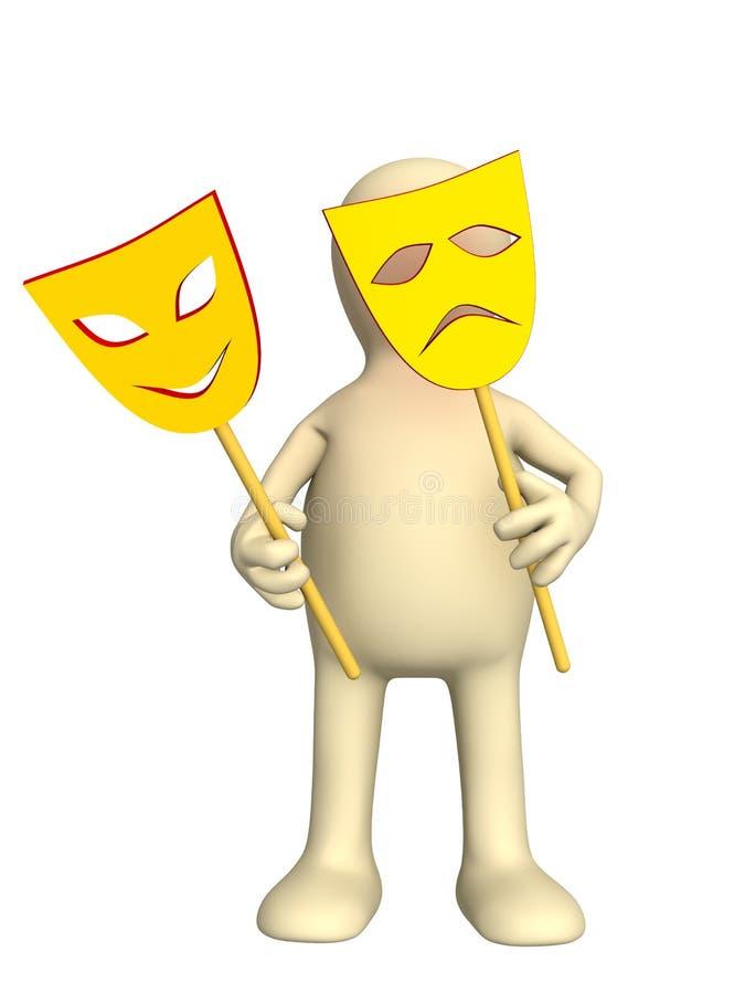 marionnette 3d avec deux masques dans des mains illustration de vecteur