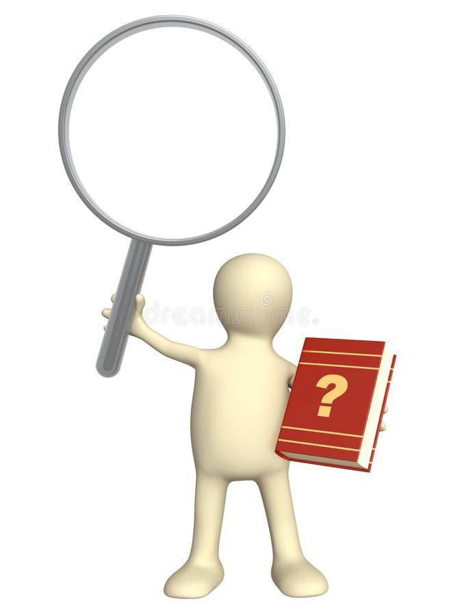 Marionnette avec le livre et la loupe illustration de vecteur