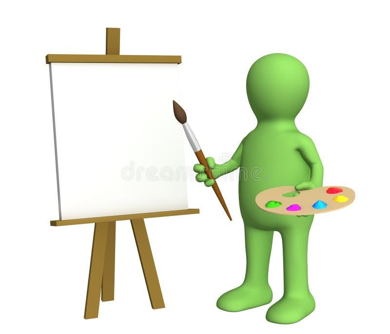 Marionnette d'artiste avec un balai et des peintures illustration stock