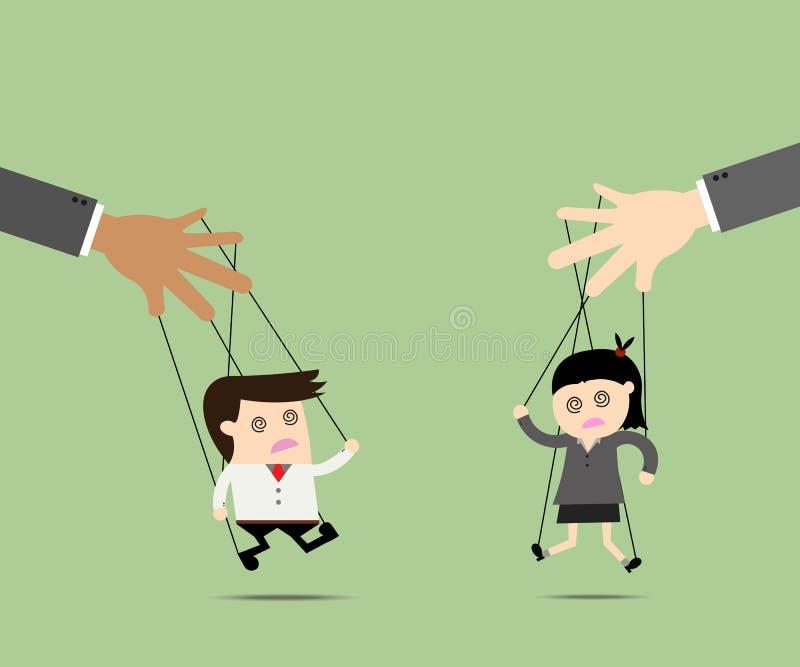Marionnette d'homme d'affaires et de femmes d'affaires sur des cordes illustration de vecteur