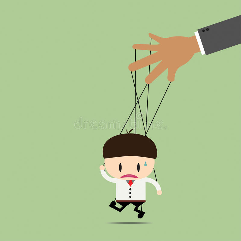 Marionnette d'homme d'affaires sur des cordes images stock