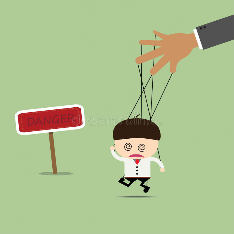 Marionnette d'homme d'affaires sur des cordes dans quels bruits Les affaires manoeuvrent photos stock