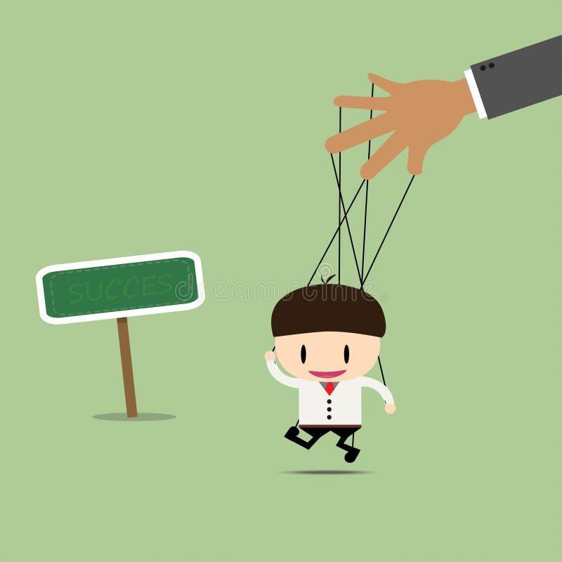 Marionnette d'homme d'affaires sur le bon chemin de cordes images libres de droits