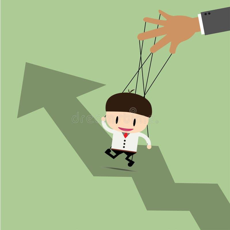 Marionnette d'homme d'affaires sur les cordes et le graphique  photos libres de droits