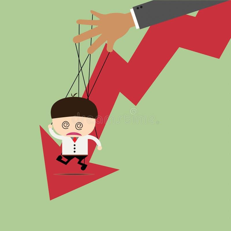 Marionnette d'homme d'affaires sur les cordes et le graphique vers le bas photographie stock libre de droits