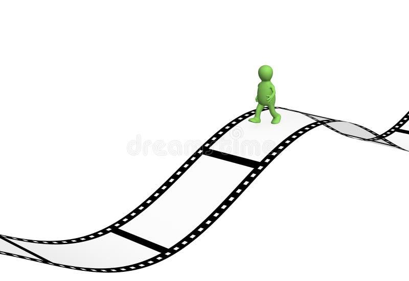 marionnette de la personne 3d marchant au film photographique illustration de vecteur