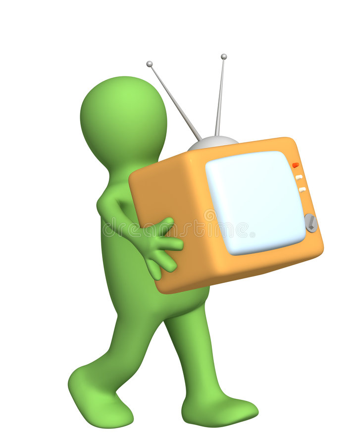 marionnette de mains 3d de transport rétro TV illustration stock