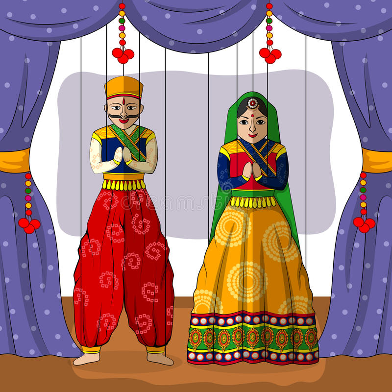 Marionnette de Rajasthani dans le style indien d'art illustration stock