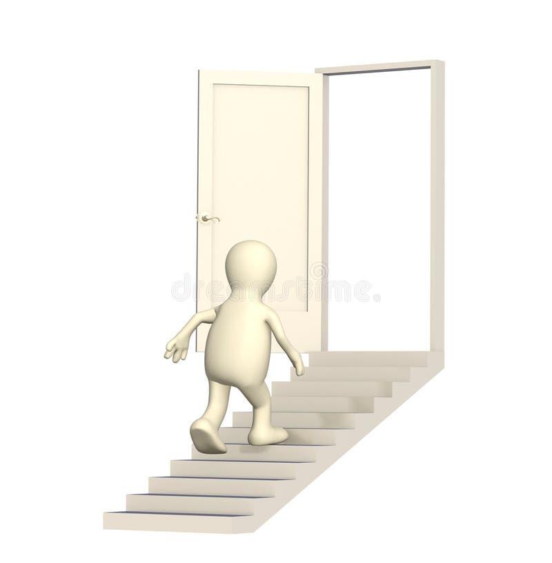 Marionnette marchant en haut à une porte ouverte illustration libre de droits