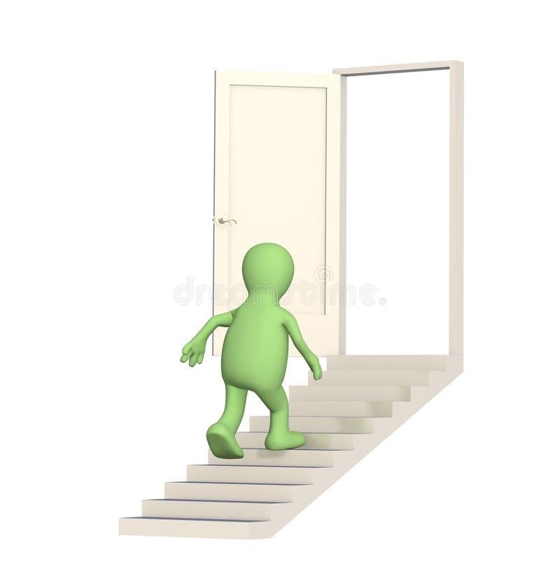 Marionnette marchant en haut à une porte ouverte illustration de vecteur
