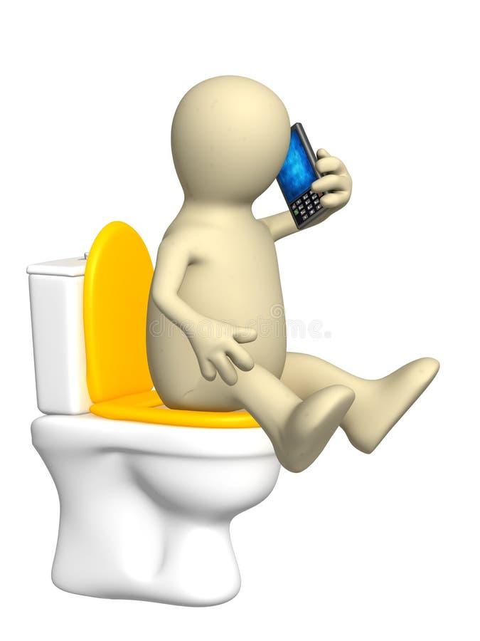 Marionnette, se reposant avec un téléphone sur la cuvette de toilette illustration libre de droits