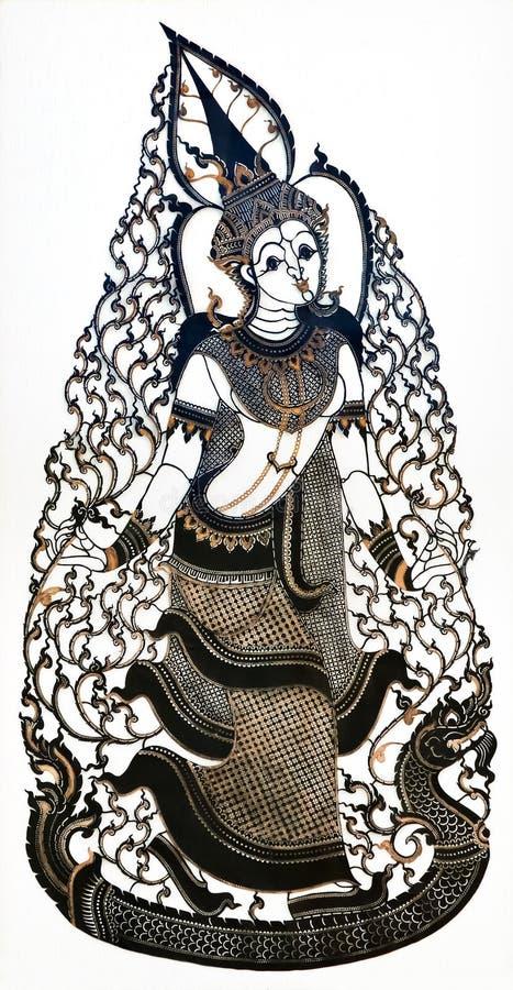 Marionnette thaïlandaise de pièce d'ombre images libres de droits
