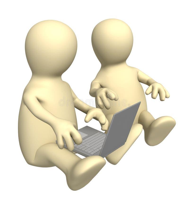 Marionnettes avec l'ordinateur portatif illustration de vecteur