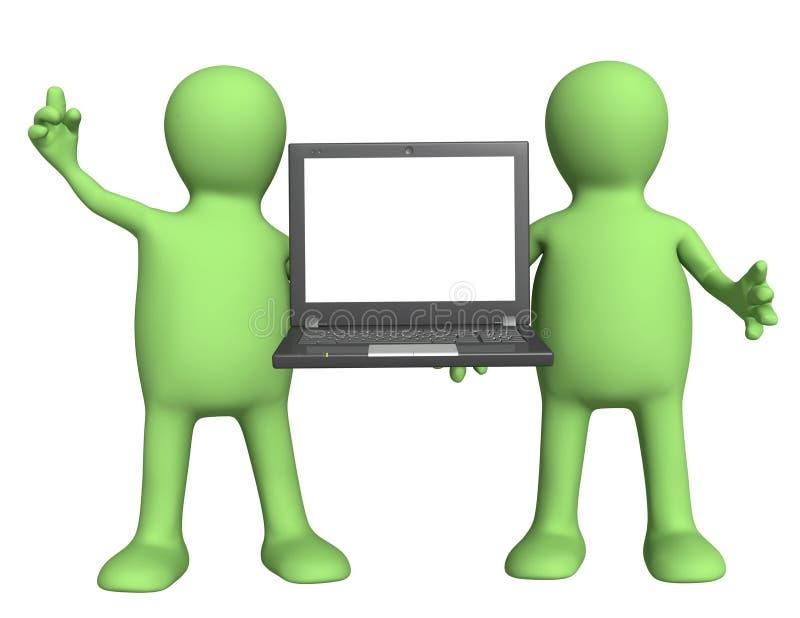Marionnettes avec l'ordinateur portatif dans des mains illustration de vecteur