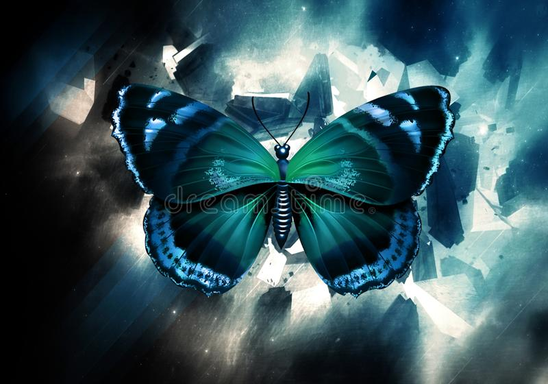 Mariposa abstracta artística de la acuarela en un fondo multicolor del espacio de la nebulosa libre illustration