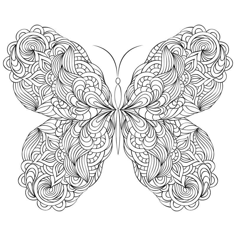 Mariposa abstracta en el fondo blanco stock de ilustración