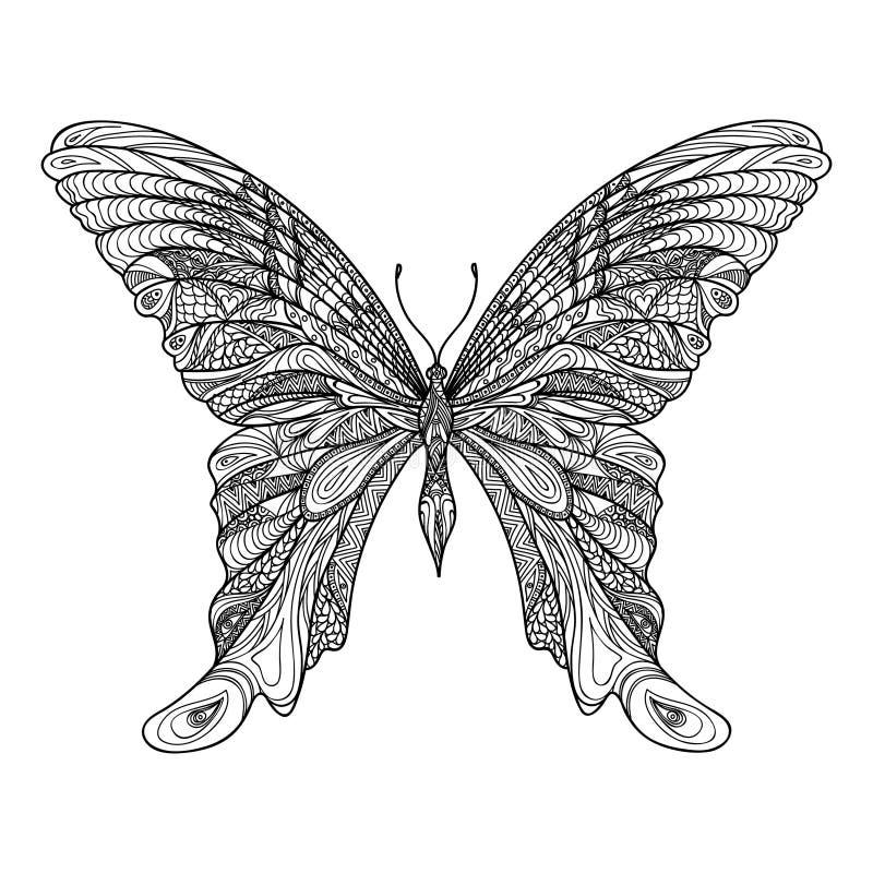 Mariposa aislada Bosquejo indio dibujado mano de la mariposa de Zentangle stock de ilustración