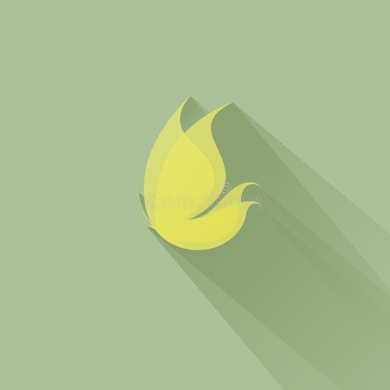 Mariposa amarilla en un fondo verde. Ejemplo del vector ilustración del vector